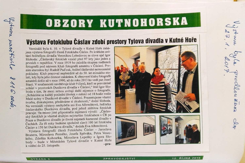 Monika Pravdová na vernisáži fotoklubu v Kutné Hoře