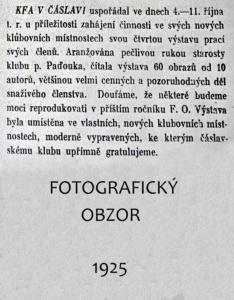 zpráva o výstavě fotoklubu 1925